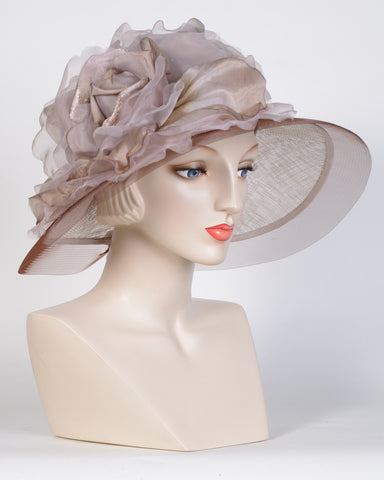 0754HLSP Helena, sisal crown/sinamay brim, light brown/silver