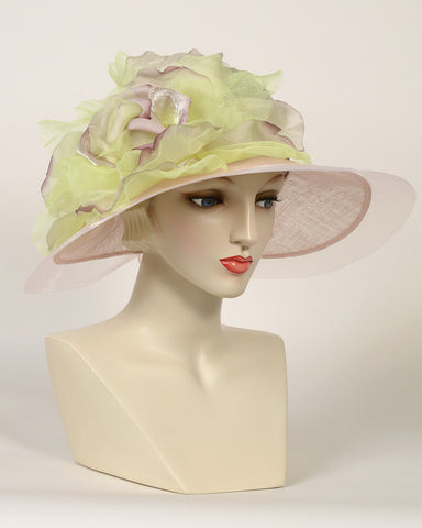 0754HLSP Helena, sisal crown/sinamay brim, raisin with pistachio