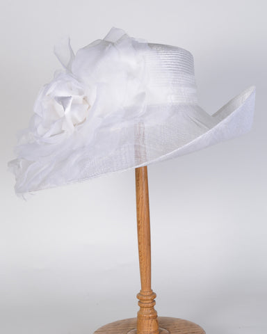 0756VGSP Virginia, sisal crown/sinamay brim, white