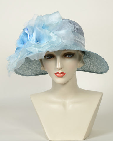 0756HLSP Helena, sisal crown/sinamay brim, denim