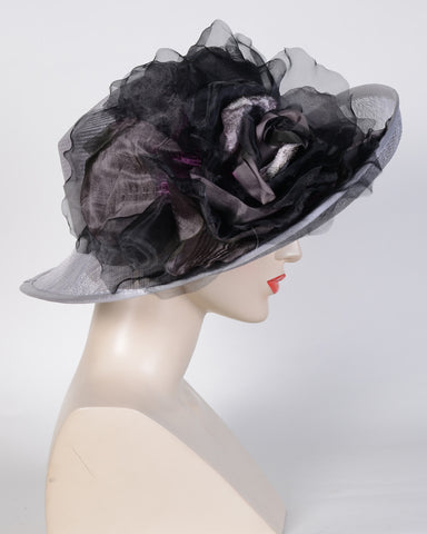 0757HZSP Hazel, sisal crown/sinamay brim, silver-grey/silver with black
