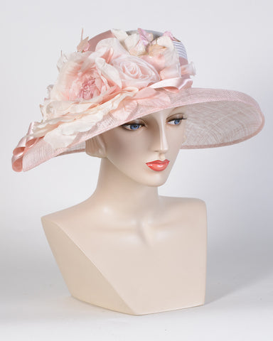 0761AMSP Amy, sisal crown/sinamay brim, pale pink