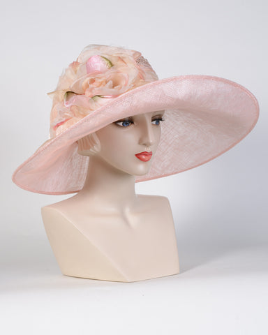 0762NWSP Newport, sisal crown/sinamay brim, pale pink with peach