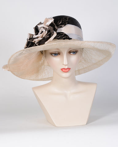 0775GCSP Grace, sisal crown/sinamay brim, espresso brown/natural
