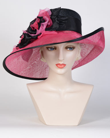 0782VGSP Virginia, sisal crown/sinamay brim, black/hot pink-silver