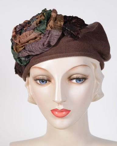 0794SBC Small Beret, cotton, light brown with multi