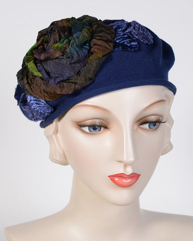 0794SBC Small Beret, cotton, navy with multi