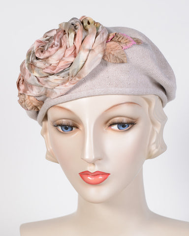 0794SBC Small Beret, cotton, taupe with peach
