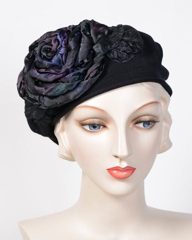 0794SBC Small Beret, cotton, black with multi