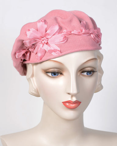 0795SBC Small Beret, cotton, antique rose