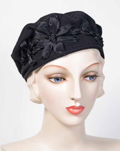 0795SBC Small Beret, cotton, black