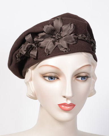 0795SBC Small Beret, cotton, brown