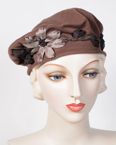 0795SBC Small Beret, cotton, coffee