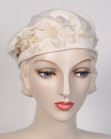 0795SBC Small Beret, cotton, cream