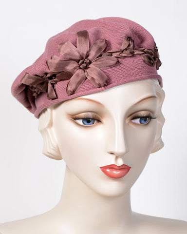 0795SBC Small Beret, cotton, dusty rose