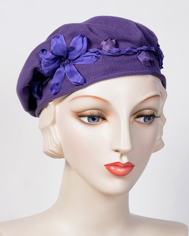0795SBC Small Beret, cotton, eggplant