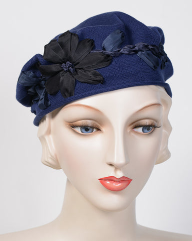 0795SBC Small Beret, cotton, navy