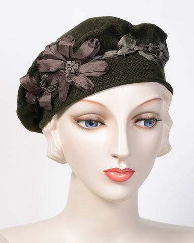 0795SBC Small Beret, cotton, olive