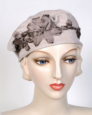 0795SBC Small Beret, cotton, taupe