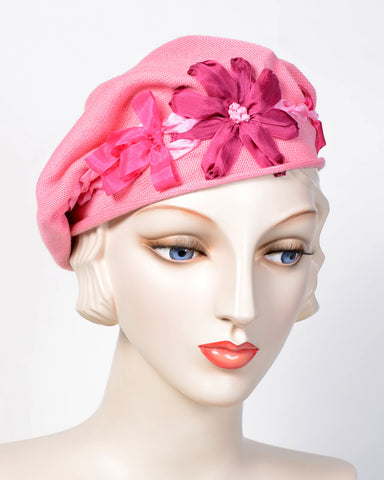 0795SBC Small Beret, cotton, vintage rose