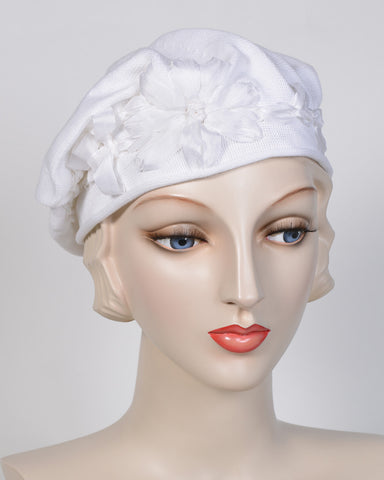 0795SBC Small Beret, cotton, white