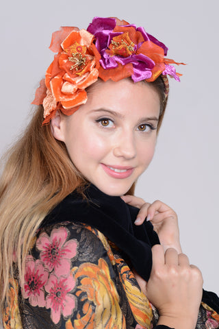 0829HB Headband, burnt orange & fuchsia