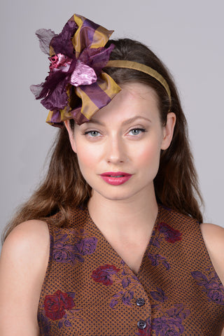0847HB Headband, plum/gold