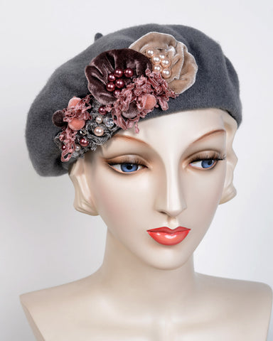 0883BE Beret, wool felt, gray