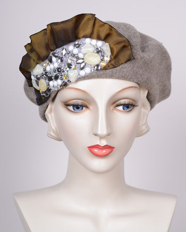 0885BEF Beret,  wool felt, camel tweed