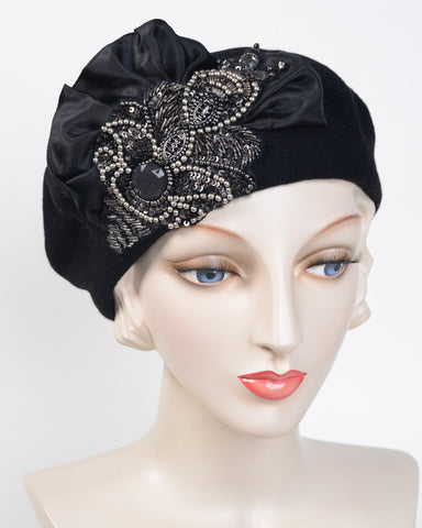 0886BEF Beret, wool felt, black