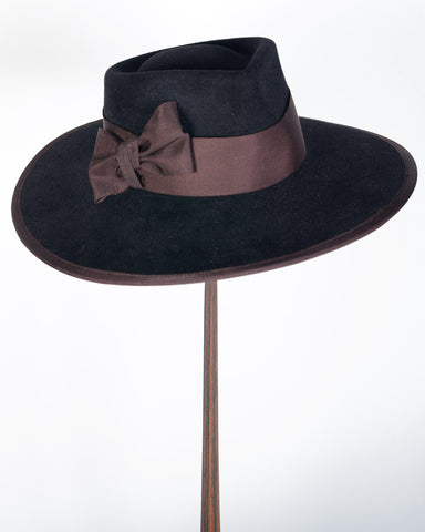 "0896WNV Wayne, velour, black with brown, 4"" brim"