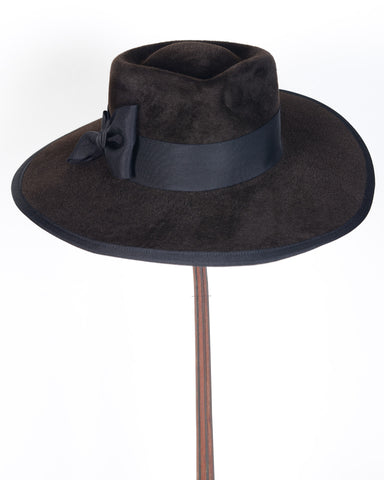"0896WNV Wayne, velour, sable with black , 4"" brim"