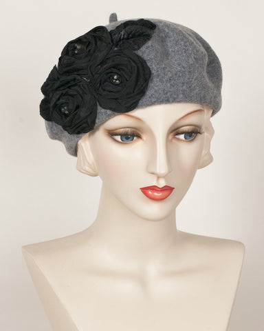 1154SBF Small Beret, grey tweed with black