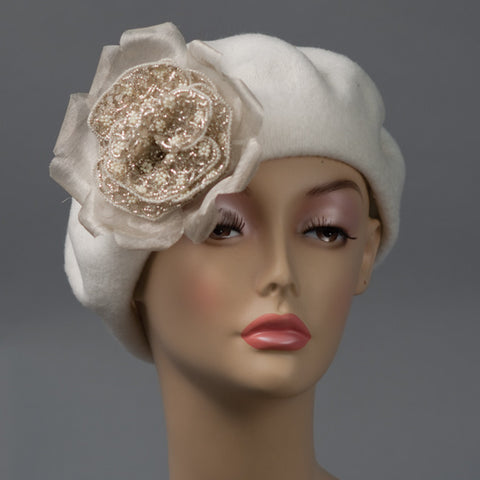 2136BEF Beret, winter white