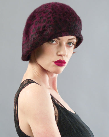 2147BLP Blocked Beret, burgundy leopard