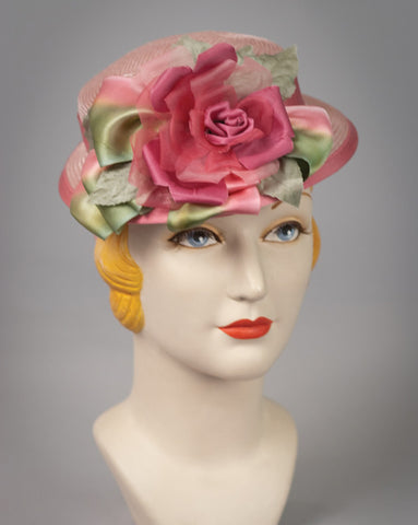 3104DHPS Doll Hat, parisisal, raspberry w/moss