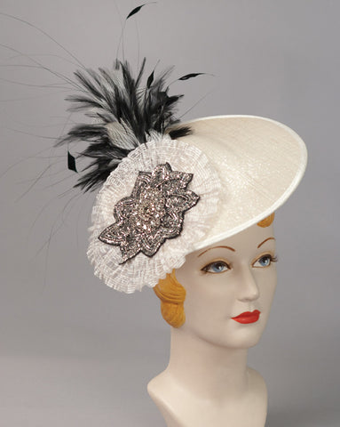 3145FS Fascinator, buntal, silver w/gunmetal