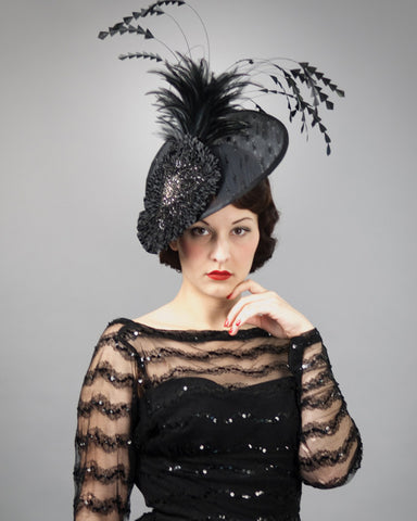 3146FS Fascinator, buntal, black