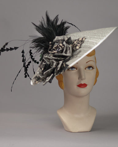 3149FS Fascinator, buntal, silver w/black
