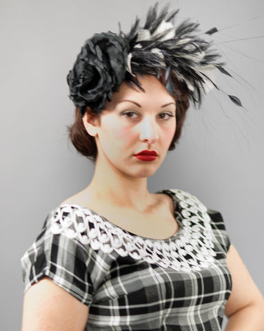 3174FS Fascinator, black w/ ivory
