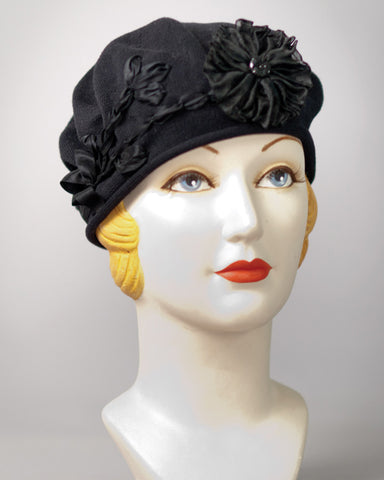 3206SBC Small Cotton Beret, black
