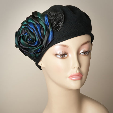 5182SBC Small Cotton Beret, black with multi