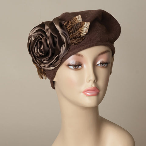 5182SBC Small Cotton Beret, brown