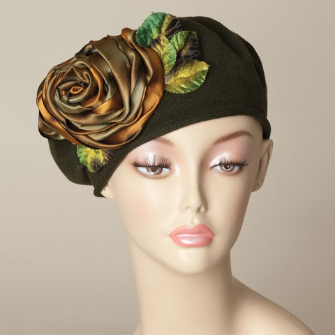 5182SBC Small Cotton Beret, olive with rust