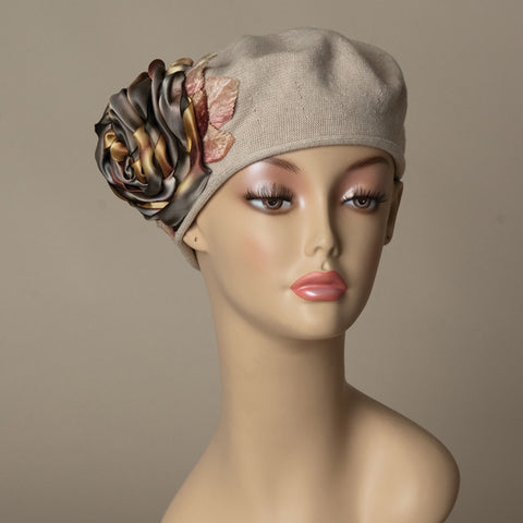 5182SBC Small Cotton Beret, taupe with grey