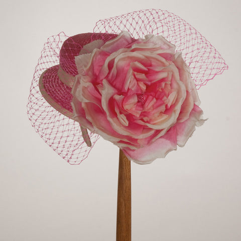 5205DHPS Doll Hat, hot pink w/ ivory