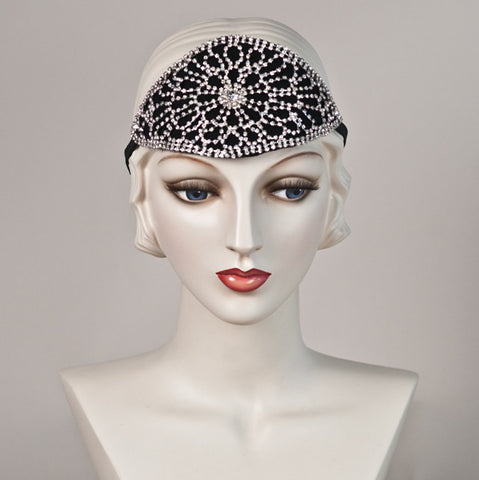 6284HB Headband, black with crystal