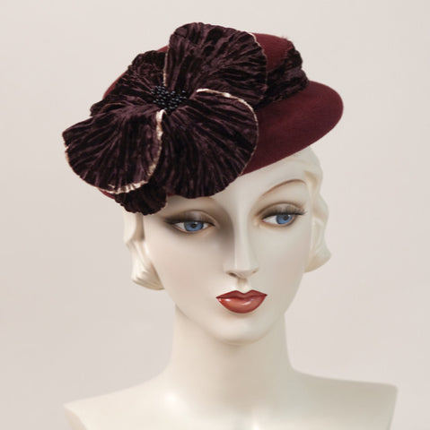 6312DHV Doll Hat, burgundy with cognac