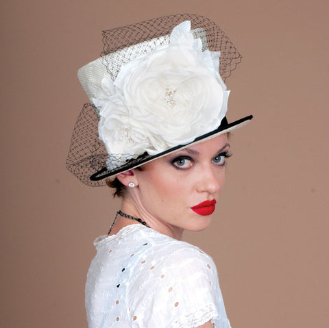 7253TPSI Top Hat, ivory with black