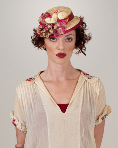 9316DHPS Doll Hat, desert sand with cherry